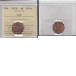 1-cent 1924 ICCS MS64 Red. Beautiful strike, nice original lustre.