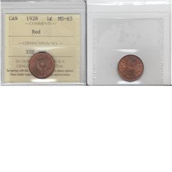 1-cent 1928 ICCS MS65 Red. Tied for the finest known.