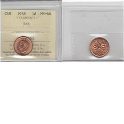1-cent 1938 ICCS MS66 Red. Tied for the finest known.