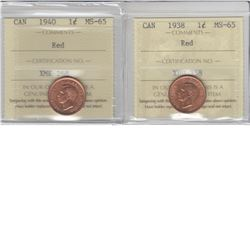 1-cent 1938 & 1940 ICCS MS65 Red. Lot of 2 coins.