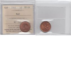 1-cent 1944 ICCS Certified MS64 Red.  Coin has some small carbon spots.