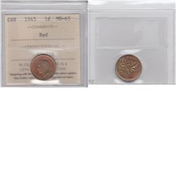 1-cent 1945  ICCS certified MS65 RED. Coin is cherry Red with accents of olive green tones.