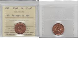 1-cent 1947 Maple Leaf Pointed 7; ICCS MS65 Red.