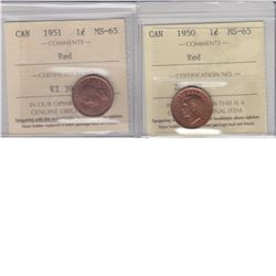 1-cent 1950 & 1951 ICCS MS65 Red. Lot of 2 coins.