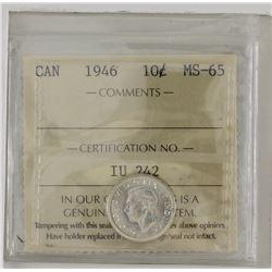 10-cent 1946 ICCS MS65. Blast white!