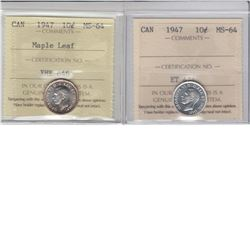 10-cent 1947 & 1947 Maple Leaf ICCS MS64. Lot of 2 coins.