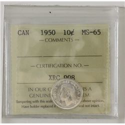 10-cent 1950 ICCS MS65. Blast white!