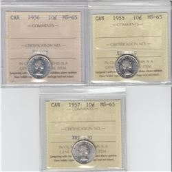 10-cent 1955, 1956 & 1957 ICCS MS65. Lot of 3 coins.
