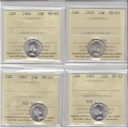 10-cent 1959, 1960, 1961 & 1962 ICCS MS65. Lot of 4 coins.