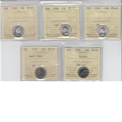 10-cent 1963, 1964, 1965, 1968 nickel & 1969 ICCS MS65. 5pcs