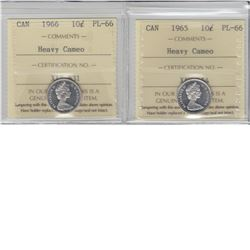 10-cent 1965, 1966 & 1969 ICCS PL66 Heavy Cameo. Lot of 3 coins.