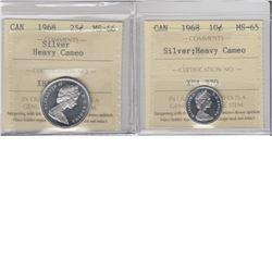 10-cent 1968 Silver ICCS MS65 HC & 25-cent 1968 Silver ICCS MS66 HC. 2pcs