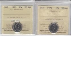 10-cent 1972 & 1973 ICCS MS66. Both tied for finest known. 2pcs