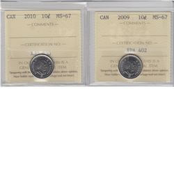 10-cent 2009 & 2010 ICCS MS67.  Both tied for the finest known. 2pcs