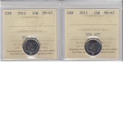 10-cent 2011 & 2012 ICCS MS67.  Both tied for the finest known. 2pcs