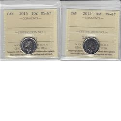 10-cent 2012 & 2015 ICCS MS67. Tied for the finest known. 2pcs