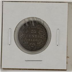 25-cent 1880H Narrow over Wide `0`; VF to EF