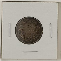 25-cent 1885 curved top 5; VF+