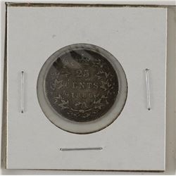 25-cent 1886 6 over 7 LBE Obverse 5; VF to EF