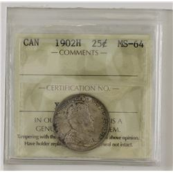 25-cent 1902H  ICCS Certified MS64. Coin is lightly toned with hints of olive green and indigo blues