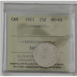 25-cent 1911 first year issue George 5th. ICCS Certified MS64. A well struck coin with bright fields