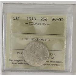 25-cent 1913 ICCS AU55