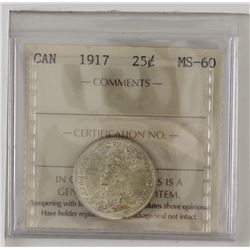 25-cent 1917 ICCS Certified MS60. Bold details with underlying luster.