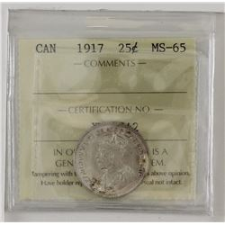 25-cent 1917 ICCS MS65. White with light toning.