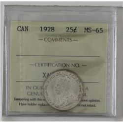 25-cent 1928 ICCS MS65. Attractive coin with just a hint of golden toning on the reverse. Top 10 cen