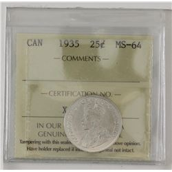 25-cent 1935 Geroge 5th ICCS MS64. A blast white coin with strong features.