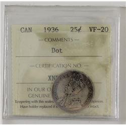 25-cent 1936 Dot  ICCS VF20