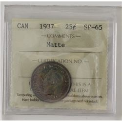25-cent 1937 ICCS SP65 Matte. Vibrant toning with hints of blue and purple.