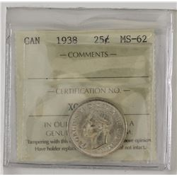 25-cent 1938 ICCS Certified MS62.