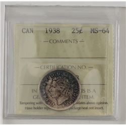 25-cent 1938 ICCS Certified MS64. A deeply toned coins with strong colours of Violets and Blues.