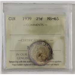 25-cent 1939 ICCS MS65.