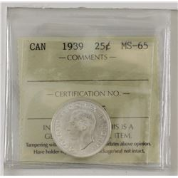 25-cent 1939 ICCS MS65. Blast white