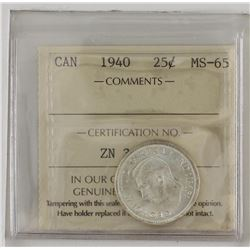 25-cent 1940 ICCS Certified MS65. A soft white coin with hints of golden toning.