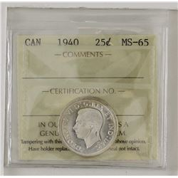 25-cent 1940 ICCS MS65. White with cameo finish on portrait