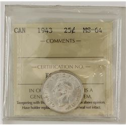 25-cent 1943 ICCS Certified MS64. Almost fully white coin.