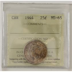 25-cent 1944 ICCS Certified MS65. A softly toned example with hints of Golden rose, with lots of und