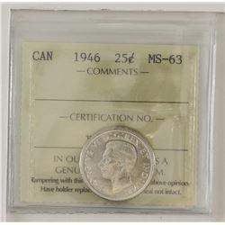25-cent 1946 ICCS MS63. Blast white