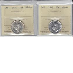 25-cent 1949 & 1950 ICCS MS64. Lot of 2 coins