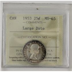 25-cent 1953 large date ICCS MS65