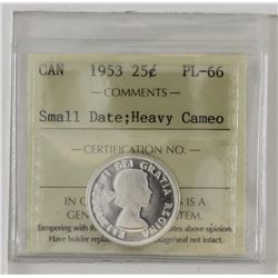 25-cent 1953 Small Date ICCS PL66 Heavy Cameo