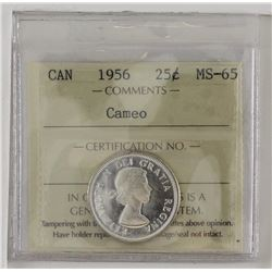 25-cent 1956 ICCS Certified MS65 Cameo.