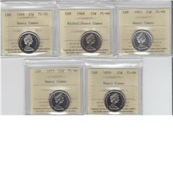 25-cent 1965, 1968 Nickel, 1969, 1970 & 1975 ICCS PL66 Heavy Cameo. Lot of 5 coins.