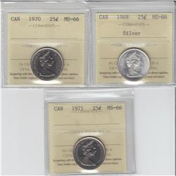 25-cent 1968 silver, 1970 & 1971 ICCS MS66. The 1970 and 1971 are tied for finest known. 3pcs