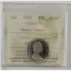 25-cent 1970 ICCS PL67 Heavy Cameo. Solo highest graded