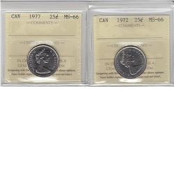 25-cent 1972 & 1977 ICCS MS66. The 1972 is tied for finest known. 2pcs