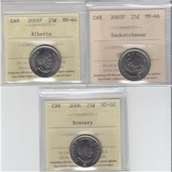 25-cent 2005P Saskatchewan, 2005P Alberta & 2006 bravery ICCS MS66. The 2006 bravery is tied for fin
